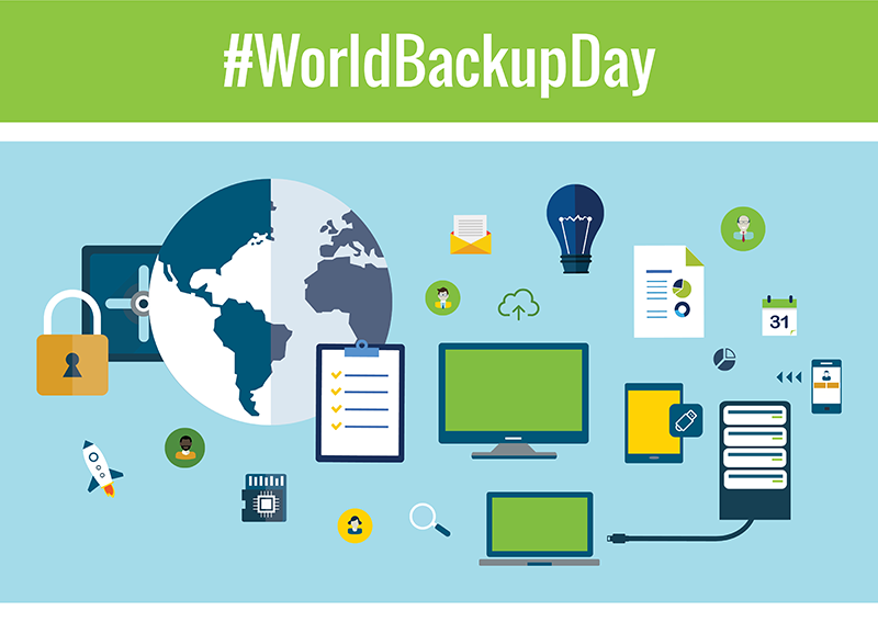 World Backup Day with globe and technology graphics