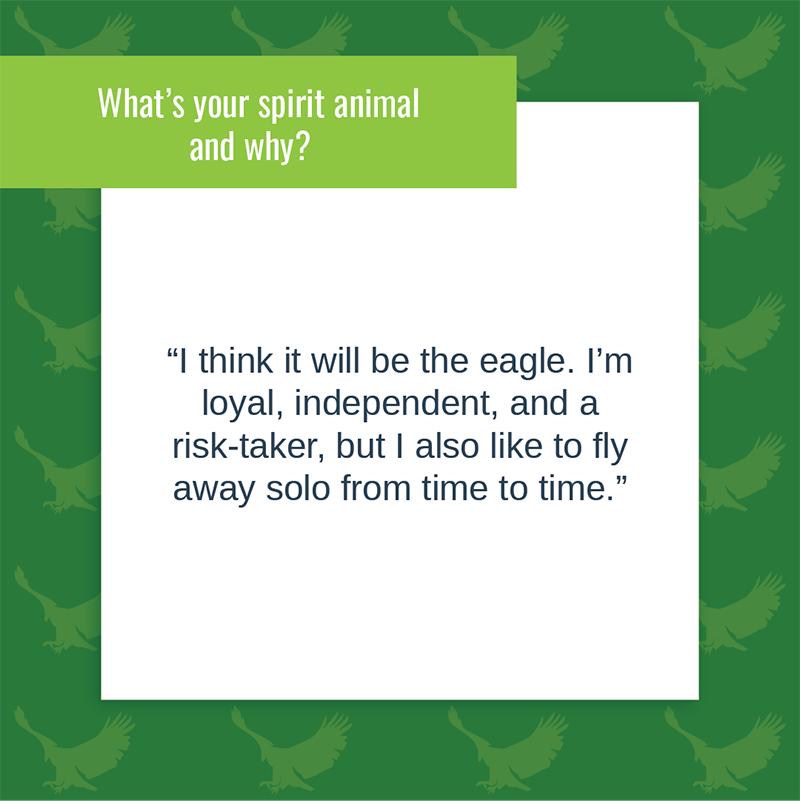 Alejandro Navarrete' spirit animal would be an eagle
