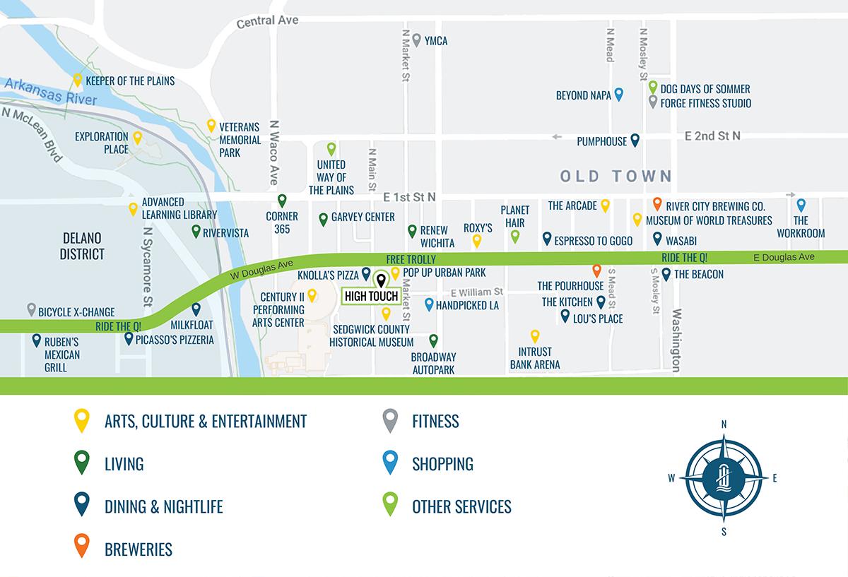 Downtown Map of Wichita Kansas - High Touch Technologies