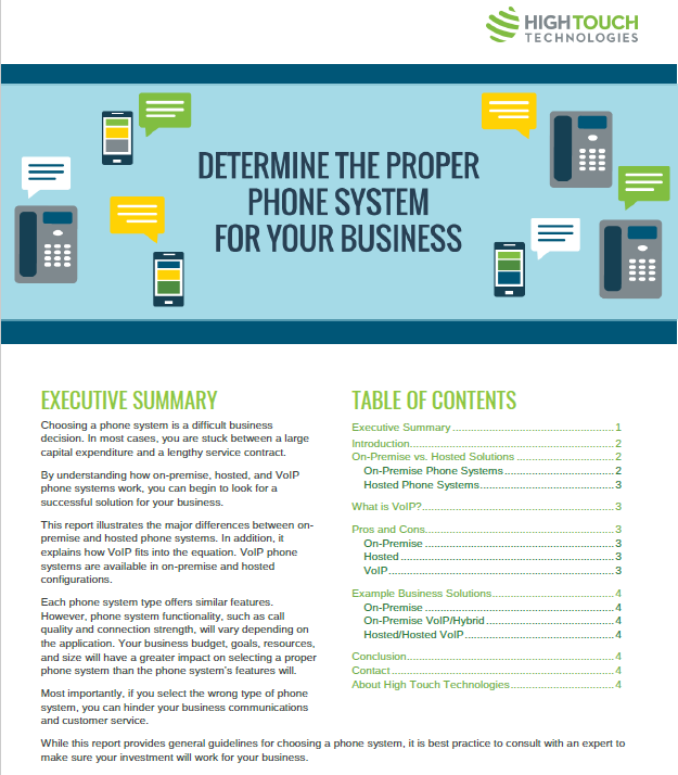 Determine the Proper Phone System For Your Business - whitepaper cover